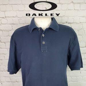 Oakley Mens Polo Large Navy Blue 3 Button Shirt